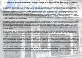 """El personal de las Empresas de Energía """"exige la re estatización de Edesur y Edenor"""""""