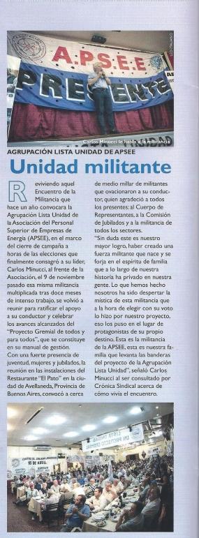 Reportaje en Cronica Sindical - Diciembre 2016