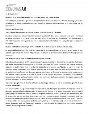 13-3-17 - Reportaje  a Carlos Minucci en Radio Belgrano AM650